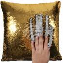 Sequin Cushion Gold Silver approx. 40 cm x 40 cm