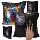 Sequins pillow Black Rainbow approx. 40 cm x 40 cm