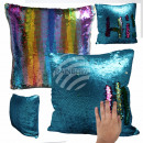 Sequins pillow Turquoise Rainbow approx. 40 cm x 4