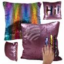 Sequins pillow Rosa Rainbow approx. 40 cm x 40 cm