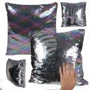 Sequin Cushion Silver Rainbow approx. 40 cm x 40 c