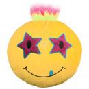 Punk Emoticon Kissen Sterne auf beiden Augen gelb