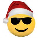 Weihnachtsmütze Emoticon Emotikon Kissen cool gelb