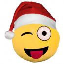 Weihnachtsmütze Emoticon Emotikon Kissen zwinker