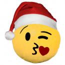 Weihnachtsmütze Emoticon Emotikon Kissen Küsschen