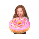 Großhandel Kissen & Decken: Donut Kissen Pink  Glasur, bunte Streusel extra gro
