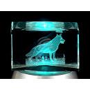 Kristall Quader Glas Kristallquader Wolf