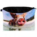 Kosmetik Tasche mit Motiv Schweinchen am Strand