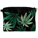 Kosmetiktasche mit Motiv Marihuana grün