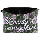 Cosmetic Bag Flower Beauty is everywhere purple
