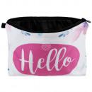 Großhandel Reiseartikel: Kosmetiktasche mit Motiv Hello rosa blau