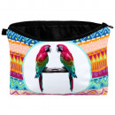 Cosmetic Bag & multicolor loro azteca