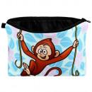 Großhandel Reiseartikel: Kosmetiktasche mit Motiv Affe an Liane blau rosa