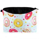 Großhandel Reiseartikel: Kosmetiktasche mit Motiv Donuts rosa gelb braun