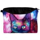 Großhandel Geldbörsen: Kosmetiktasche mit Motiv Katze Galaxy multicolor