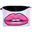 Kosmetiktasche mit Motiv Punkte, Lippen pink weiss