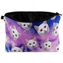 Cosmetics bag  Galaxy cats white pink