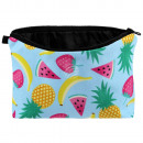 Cosmetics bag fruits yellow green red