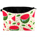 Cosmetics bag fruits green red