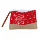 Großhandel Taschen & Reiseartikel: Kosmetiktasche rot  weiss Maritim ca. 26 cm x 20 cm