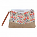 Cosmetic bag cream apricot flamingo about 26 cm