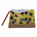Cosmetic bag pink yellow green pineapple about 26