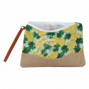 Cosmetic bag mint yellow green pineapple about 26
