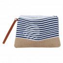 mayorista Maletas y articulos de viaje: bolso cosmético blanco tiras azules sobre 26 cm