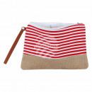 grossiste Bagages et articles de voyage: Sac cosmétique  bandes rouges blancs environ 26 cm