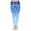 Großhandel Fashion & Accessoires: Damen Motiv Leggings Ornamente blau weiss