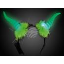 LED leuchthaarreifen grün Motiv: Bockhörner
