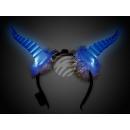 LED Leuchthaarreifen blue Design: Bockhörner