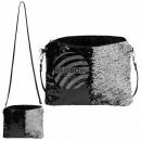Großhandel Taschen & Reiseartikel: Kuriertasche  schwarz silber Paillettendesign