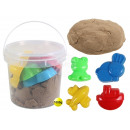 Magic Sand in the bucket brown with 4 forms