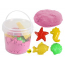 Magic Sand pink in bucket with 4 seafood shape