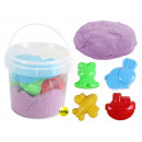 Magic Sand purple in bucket with 4 forms