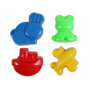 Sand molds 4-piece aircraft, boat, frog and Ha