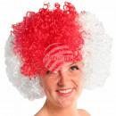 Afro Perücke rot weiß