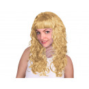 Long hair wig white / blond, curly or wavy