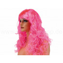 Long-haired wig fuchsia, curly or wavy