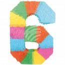 Befüllbare Pinãta Zahl 6 multicolor