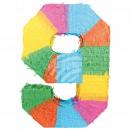Befüllbare Pinãta Zahl 9 multicolor