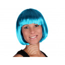 Short hair wig with bob haircut blue