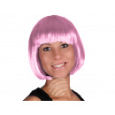pink short hair wig with bob haircut bright