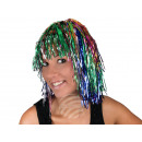 rainbow tinsel wig with bob haircut