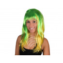 Smooth long hair wig green yellow