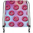 groothandel Schoolartikelen: Turnbeutel Gymsac Donuts roze licht roze