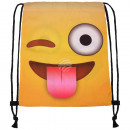 Turnbeutel Gymsac  Emoticon grins natural yellow wh