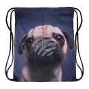 Großhandel Schulbedarf: Gymbag Gymsac Rucksack grau Hund Mops