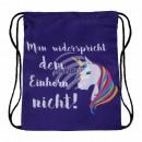 Gymbag Gymsac backpack violet purple unicorn sayin